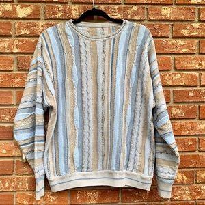 Vintage Mens Thin Knit Blue Gray Creme Weave LG